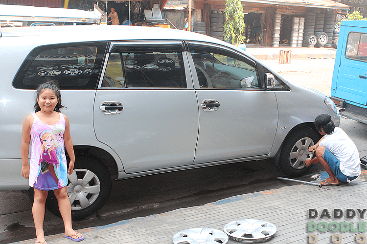Changing the Tires of Our Innova